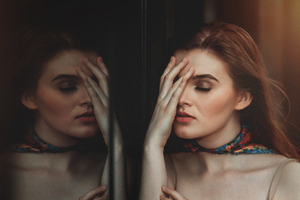 Women Standing In Front Of Glass Closed Eyes Wallpaper