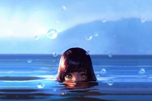 Women Water Drops Green Eyes Wet