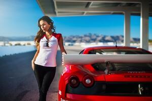 Women With Ferrari Wallpaper