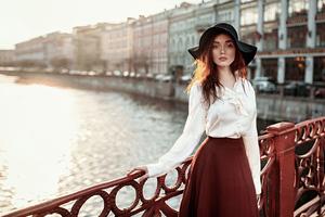 Women With Hats Long Skirt 4k Wallpaper