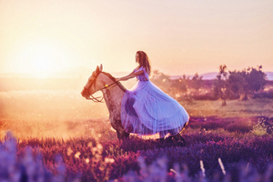 Women With Horse Fantasy Field 4k Wallpaper