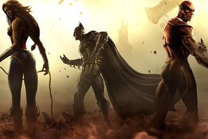 Wonder Woman Batman Flash Artwork Wallpaper