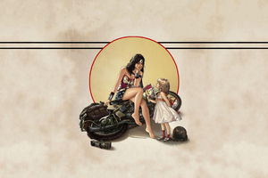 Wonder Woman Child Fallen Bike Wallpaper