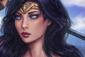 Wonder Woman Closeup Art