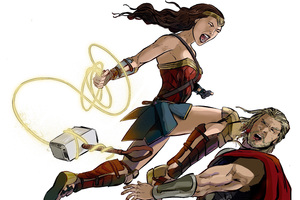 Wonder Woman Defeating Thor Wallpaper