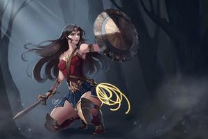 Wonder Woman Defending Wallpaper