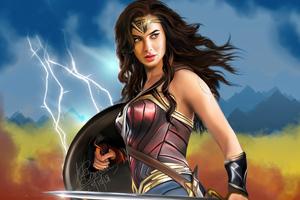 Wonder Woman Digital Drawing 5k Wallpaper