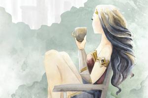 Wonder Woman Enjoying Coffee Digital Art 4k