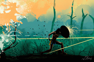 Wonder Woman Fight Art Wallpaper