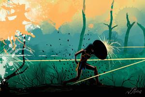 Wonder Woman Fight Art