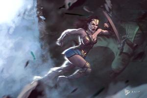 Wonder Woman Fighting With Enemies 4k