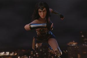 Wonder Woman Flying In The Air Art Wallpaper