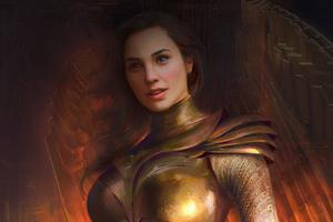 Wonder Woman Golden Eagle Armor Brush Art Wallpaper