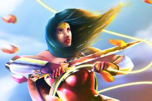Wonder Woman In Battle Wallpaper
