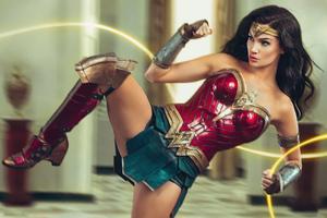 Wonder Woman Kick Action 5k Wallpaper