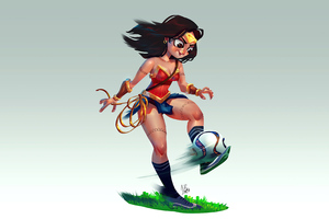 Wonder Woman Playing Football