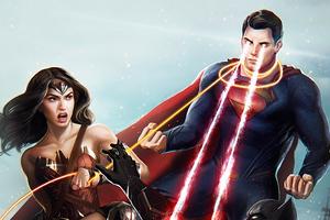 Wonder Woman Superman Art Wallpaper