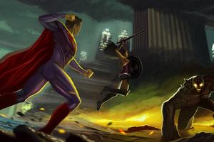 Wonder Woman Superman Fighting Against Doomsday Wallpaper