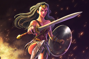 Wonder Woman Sword And Shield 4k