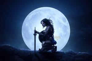 Wonder Woman The Big Moon Wallpaper