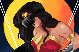 Wonder Woman Using VR Headset Wallpaper