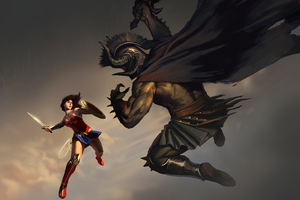 Wonder Woman Vs Ares 8k Artwork