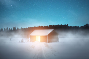 Wooden House In Snow Wallpaper