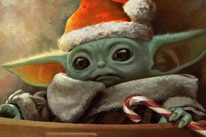 X Mas Baby Yoda 4k
