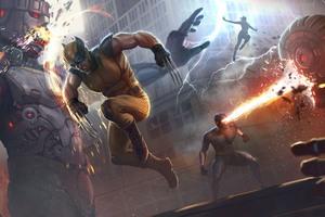 X Men Wolverine Team Vs Robots Wallpaper