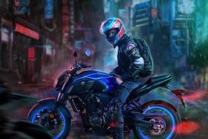 Yamaha Biker Rider Wallpaper