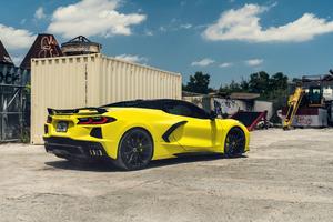 Yellow And Black Corvette C8 Vossen 8k Wallpaper