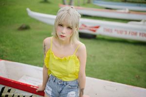 Yellow Dress Asian Girl Outdoors Wallpaper