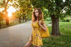 Yellow Dress Girl Outdoors Wallpaper