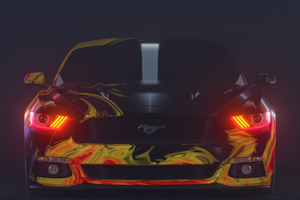 Yellow Ford Mustang Red Eyes 5k