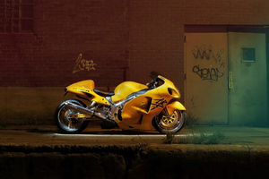 Yellow Hayabusa 4k Wallpaper