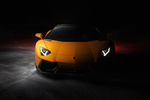 Yellow Lamborghini Aventador Front