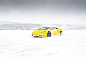 Yellow Lamborghini Aventador In Snow 5k Wallpaper