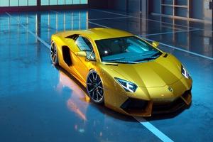 Yellow Lamborghini Aventador New Wallpaper