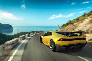 Yellow Lamborghini Huracan Rear