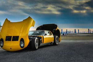 Yellow Sport Car Front Bonnet Wallpaper