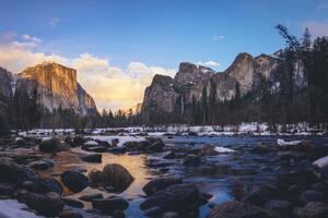Yosemite Valley In Early Sunset Time 4k Wallpaper