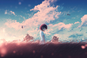 Young Girl In Nature Scenery Wallpaper