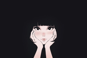 Young Girl With Hands On The Face Illustration Wallpaper