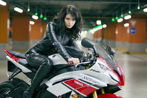 Yulia Snigir Posing on Yamaha Wallpaper