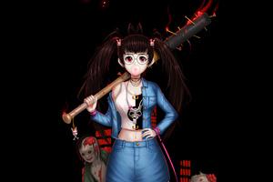 Zombie Fighter Girl 4k Wallpaper