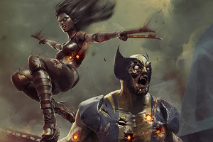 Zombie Wolverine And X23 Wallpaper