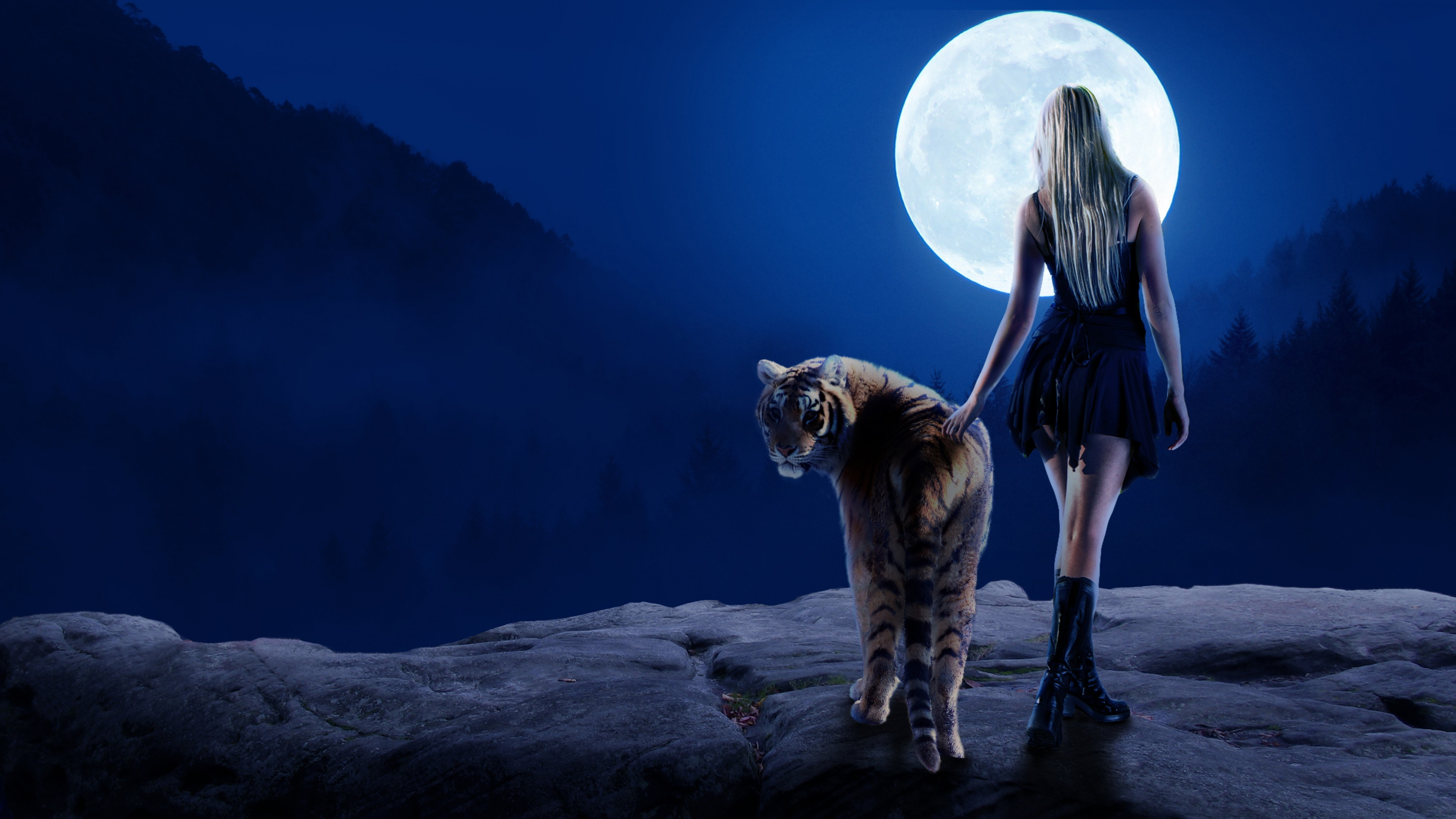 Tiger Girl Moon 4k Hd Artist 4k Wallpapers Images Backgrounds Photos And Pictures