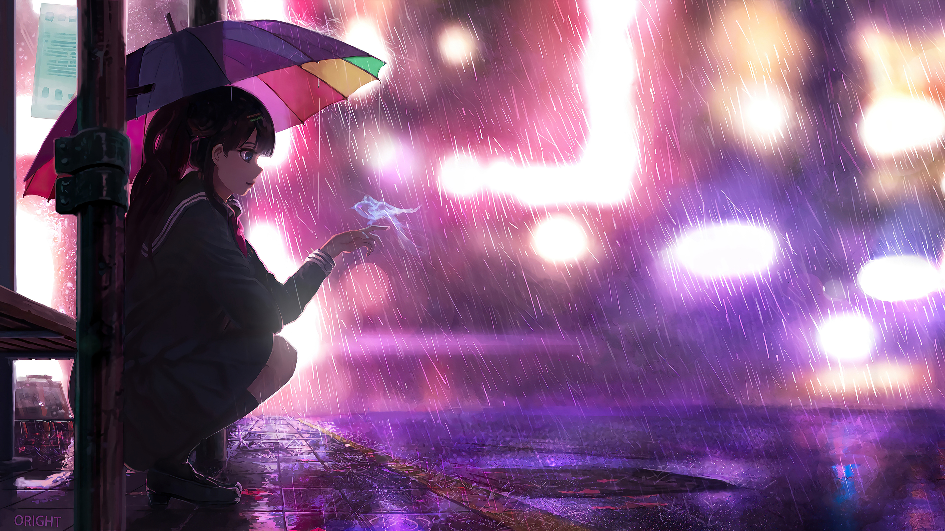 Umbrella Rain Anime Girl 4k Hd Anime 4k Wallpapers Images Backgrounds Photos And Pictures