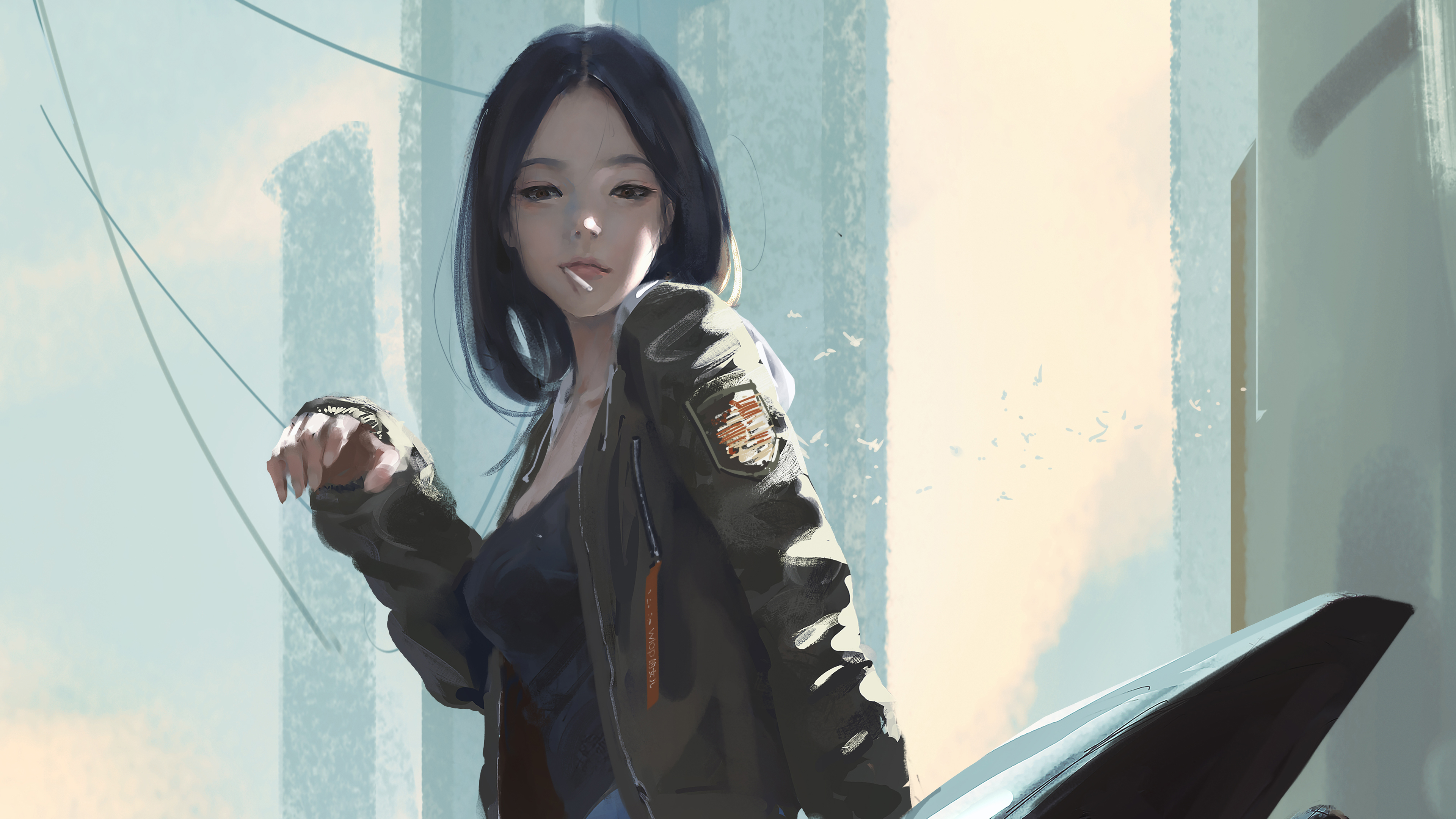 Urban Girl Smoking Cigarette, HD Anime, 8k Wallpapers, Images