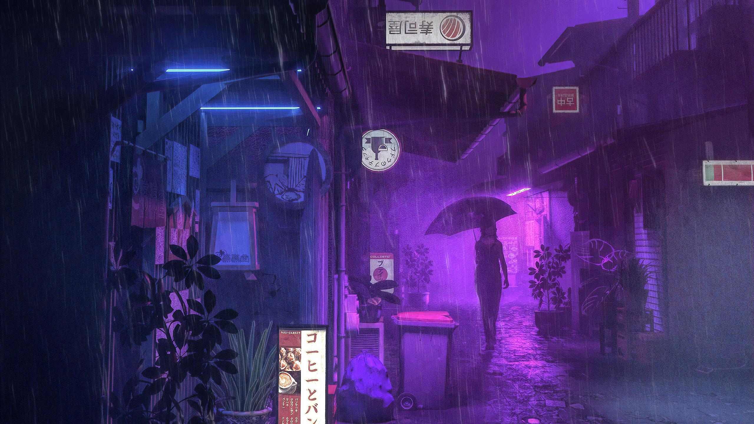 Village Street Neon Girl Umbrella, HD Anime, 4k Wallpapers ...